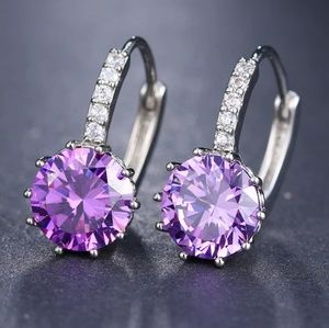 .925 cz drop hoop hinge earrings